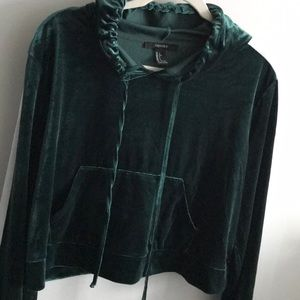 Forever 21 green velvet hoodie